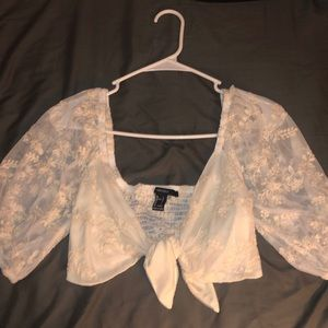 Lace tie up crop top size L from forever 21